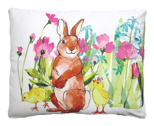 Rabbit and Chicks Pillow, RR701, 2 sizes