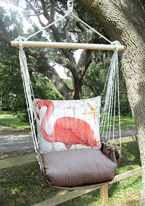 Flamingo Pillow with Chocolate Swing Set, CHSW804
