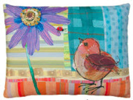 Bird and Daisy Pillow, RRPDBLCS, 18x18 ONLY