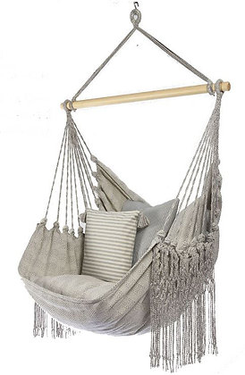 Natural Cotton Gray-Blue Swing Chair with Fringe, UD328LUX-SP3