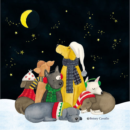 Christmas Dogs at Night, BC804LCS, 18x18
