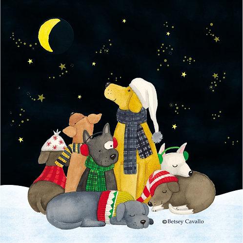 Christmas Dogs at Night, BC804LCS, 18x18