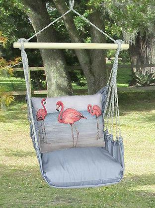 Flamingos on Gray Fabric, GRSW201-SP
