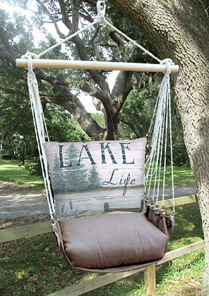 Lake Life Pier Pillow with Chocolate Swing Set, CHSW202-SP