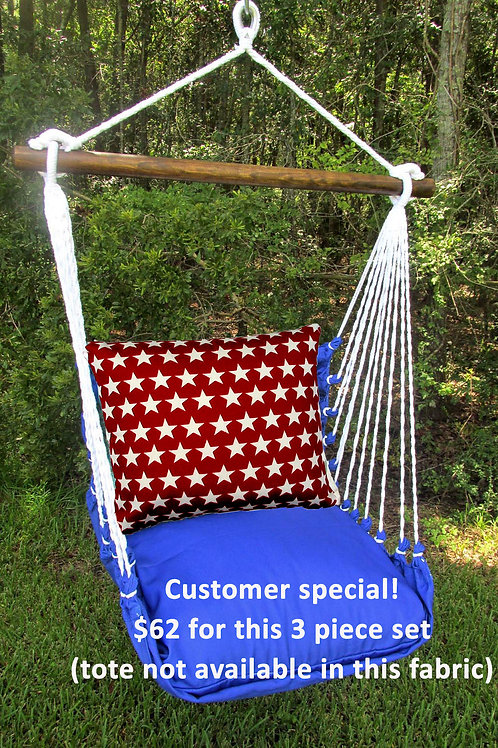 Blue Swing w/ Star Pillow (3 piece set, no tote available)