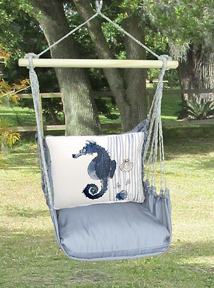 Seahorse Pillow on Gray Fabric, GRRR916-SP