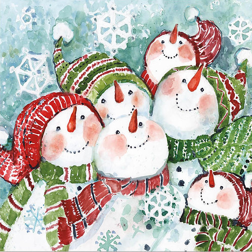 SW909LCS, Snowmen with Scarves, 18x18 only