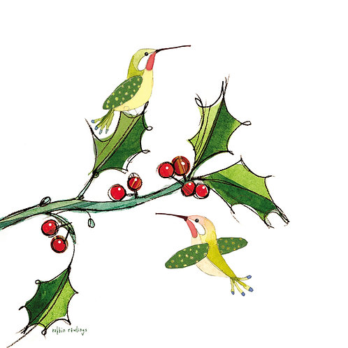 Hummingbird with Holly, RR821LCS, 18x18