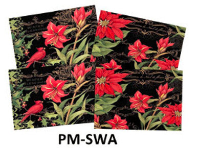 Set of 4 Place Mats, Poinsettias, PM-SWA