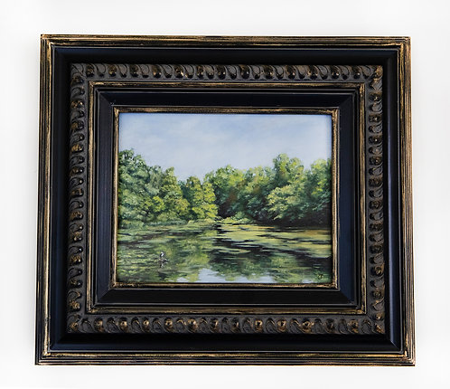 """Green Lake"" oil landscape painting"