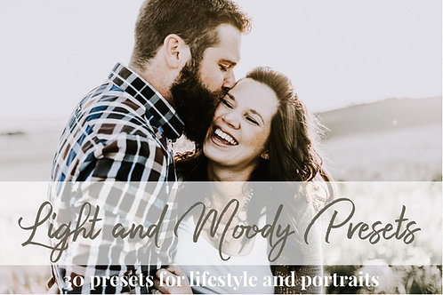 30 Light and Moody Lightroom Presets for Portrait and Lifestyle Photography, Mut