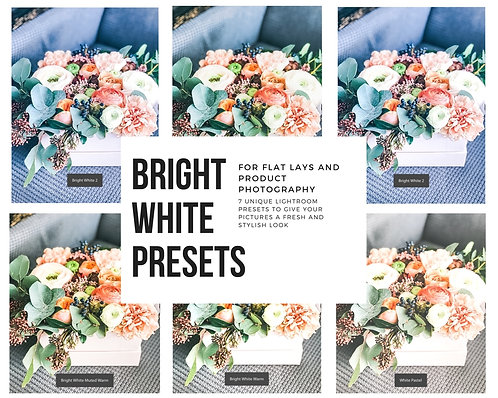 Bright White Modern Lightroom Presets for Flat Lays and Product Photography