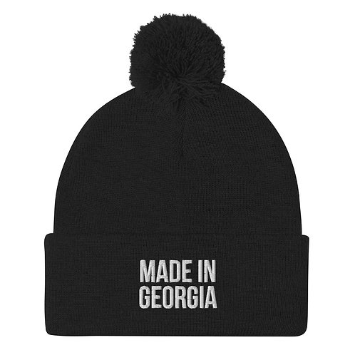 """Made In Georgia"" Basic White Pom-Pom Beanie"