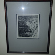 """S.Barnes """"Scotland by the Sea"""" 1963  Framed print proof 16"""" x 19.5"""" $125"""