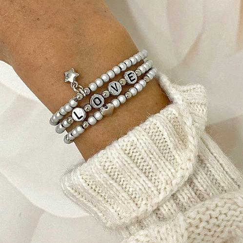 "Armband-Set ""Love"" silberfarben"