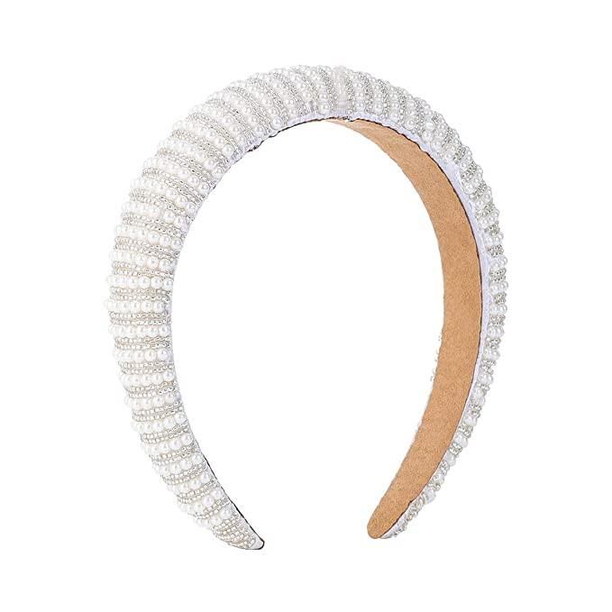 white pearl headband, pearl headband, white headband