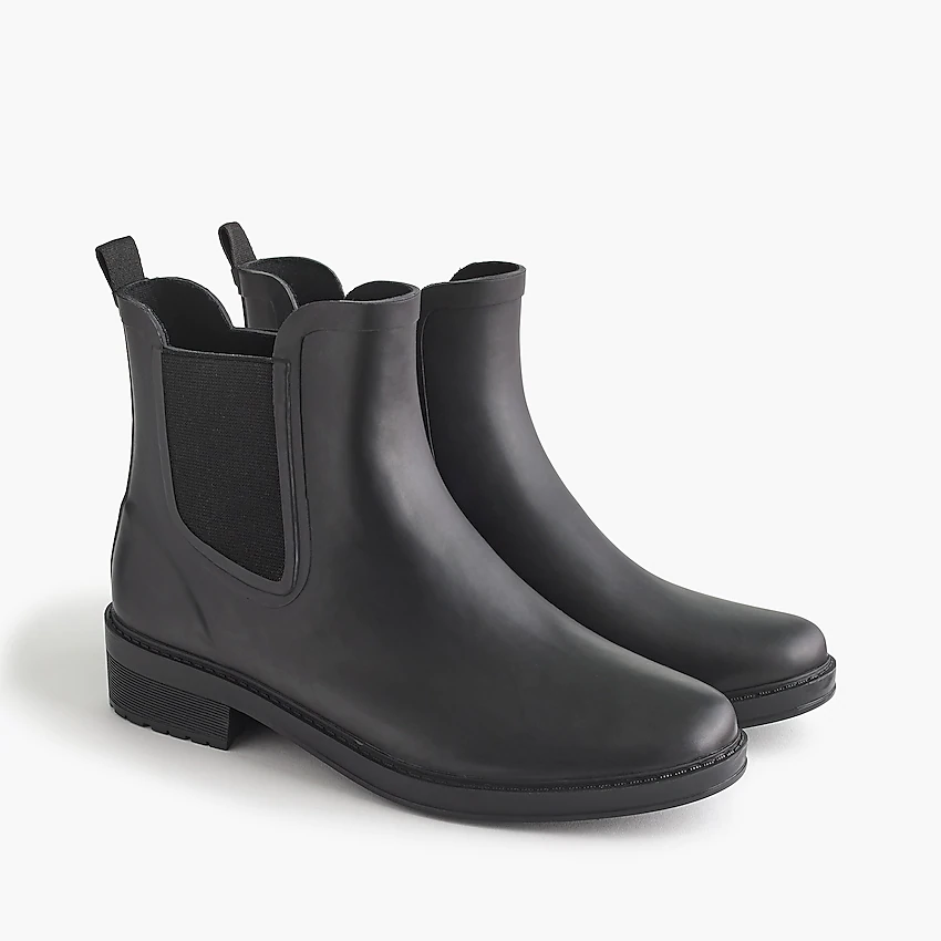 black rain boots, rain boots, black boots, black ankle boots