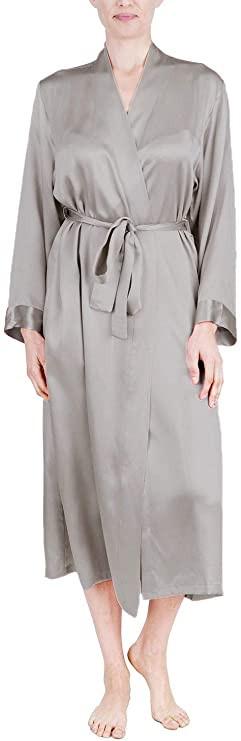 silver silk robe, long silk robe, silk robe. long silk women's robe, pure silk robe