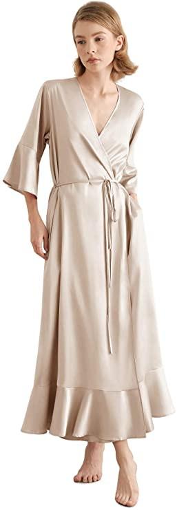long satin robe, long silk robe, satin beige robe, long silk robe, women's silk robe, women's satin robe