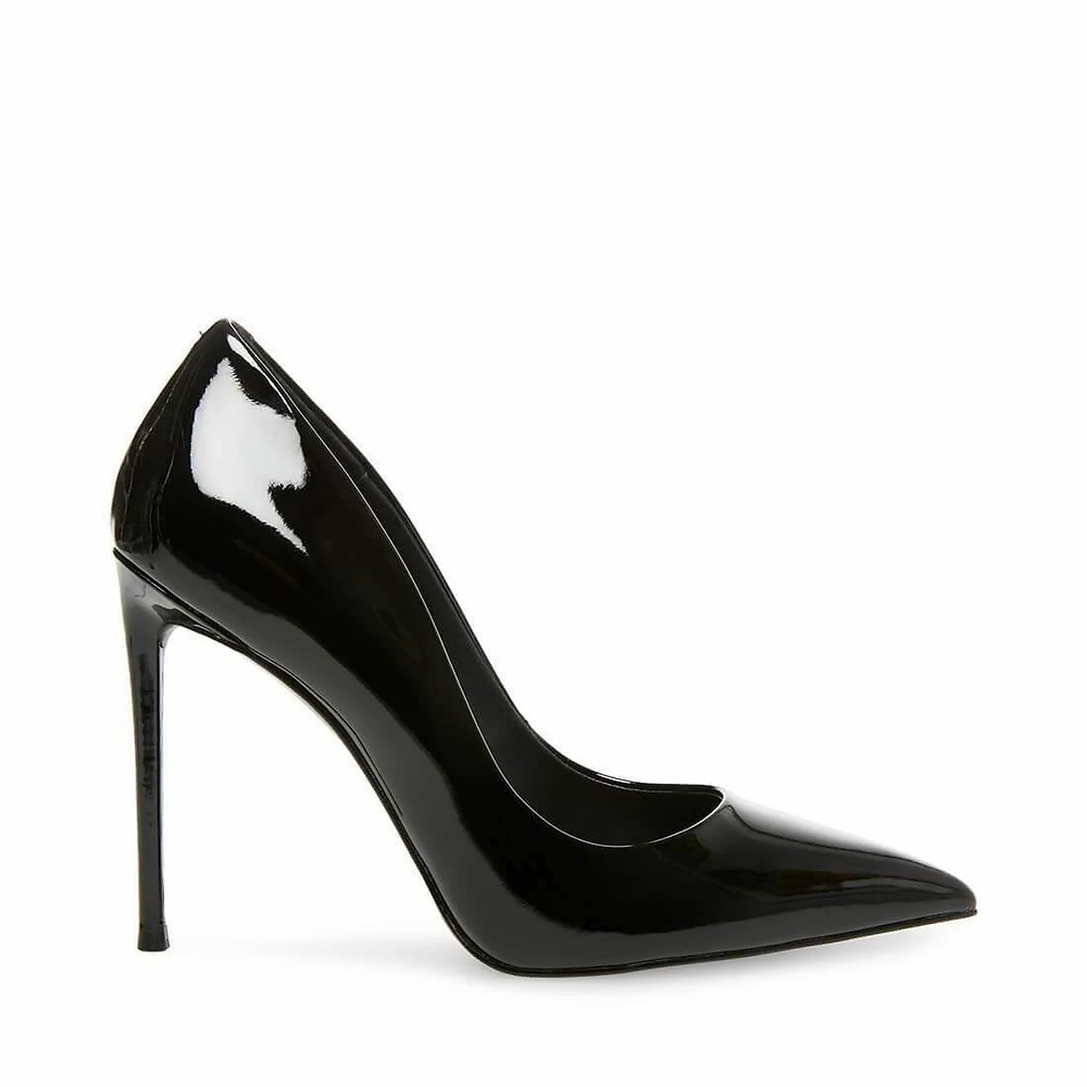 black stiletto heel, stiletto heel, steve madden heel, black patent stiletto heel, black heels