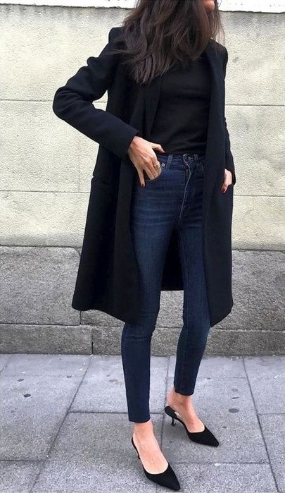 long black coat outfit, long black coat, long black coat skinny jeans, black coat and top outfit, long black coat, duster coat, midi coat outfit, women, women fashion, all black outfit