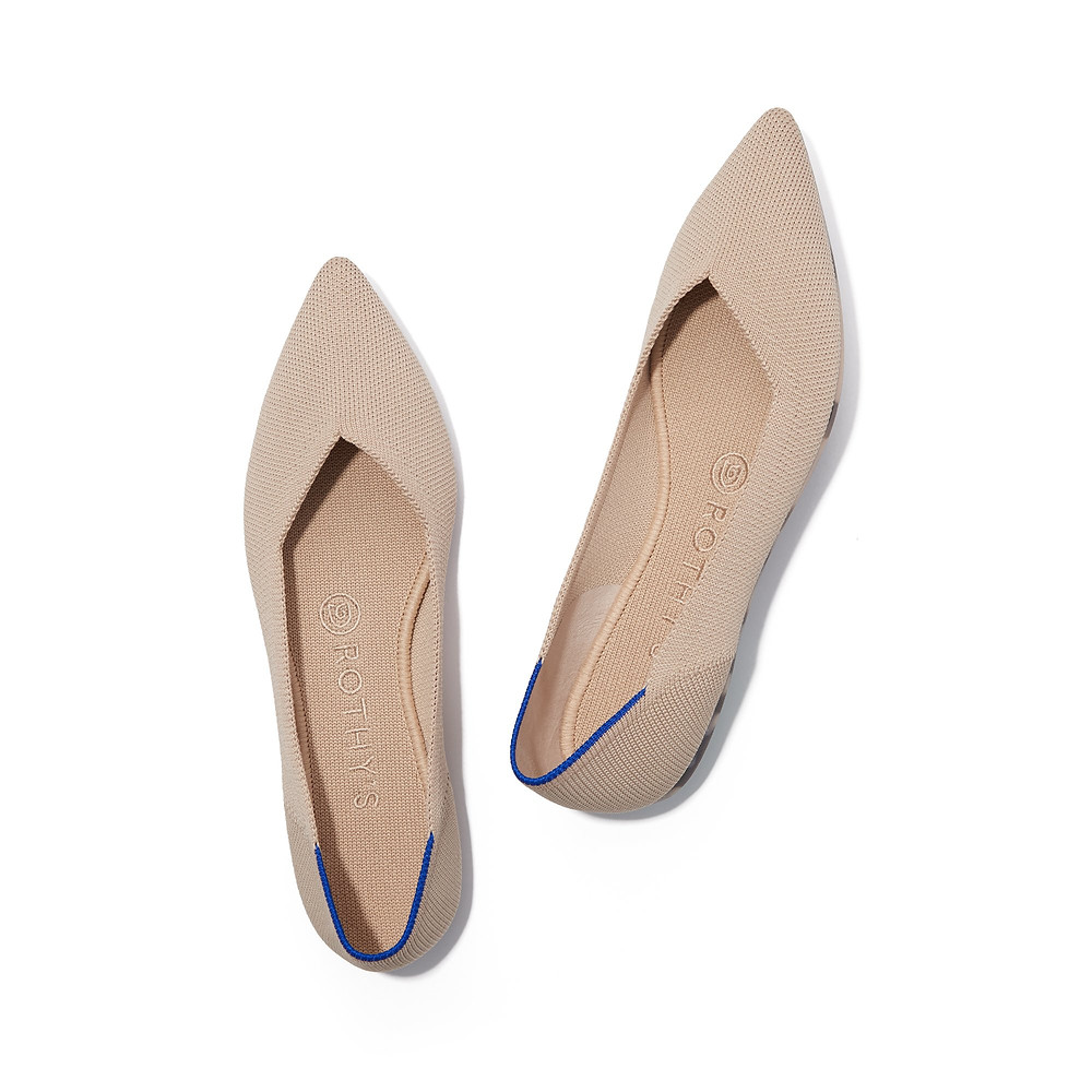 pointed flats, the point, rothy's, nude flats, pointed toe flats, ecru, nude, tan
