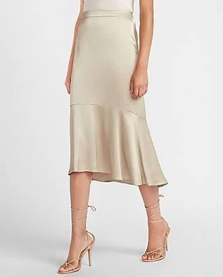 silk skirt, satin skirt, silk, ivory silk skirt. midi skirt, midi silk skirt