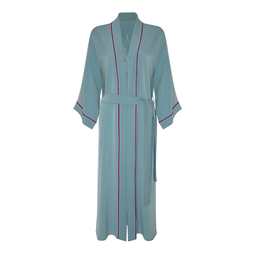 Light Blue Crepe Silk Kimono Robe by Magnol