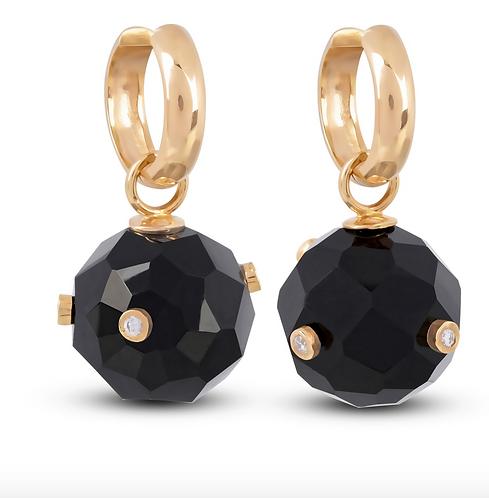 Onyx Sphere Hoop Earrings by Padme Designs