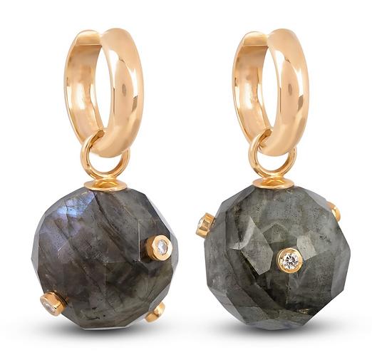 Labradorite Sphere Hoop Earrings by Padme Designs