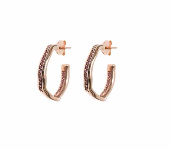 Wave Pink Sapphire Hoop Earrings by Padme Designs
