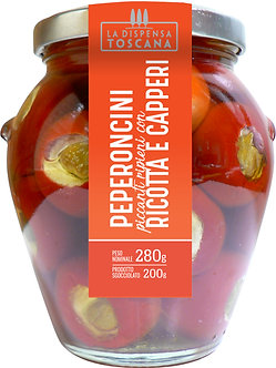 Peperoncini ricotta e capperi - in vaso da 280g.