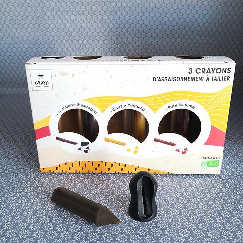 Coffret gastronaute de 3 Crayons à tailler