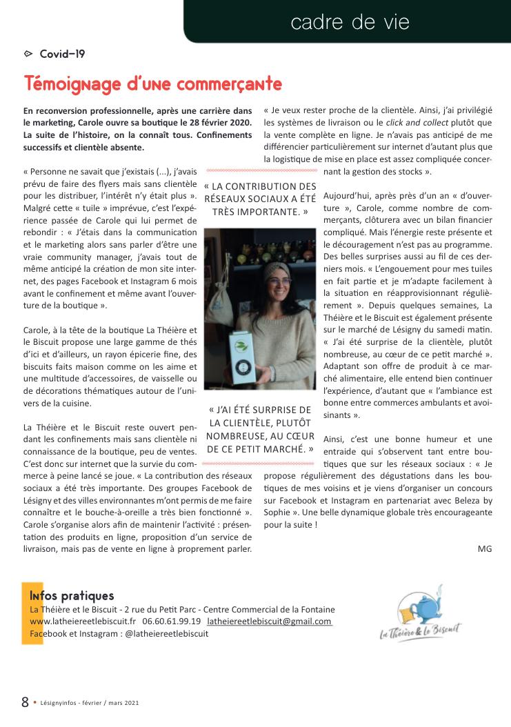 Interview paru dans Lésigny Info février 2021