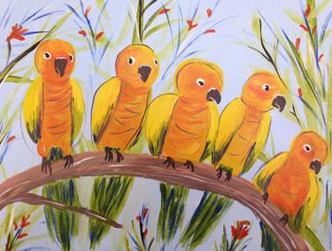 Parakeets A Perched