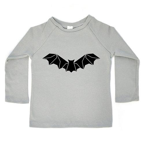 חולצת רגלאן ארוכה- אפור עם עטלף