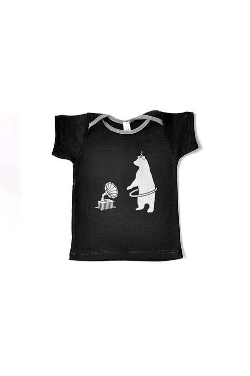 חולצה קצרה אפור פחם עם הדפס דב
