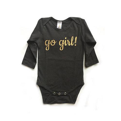 בגד גוף ארוך אפור פחם עם go girl