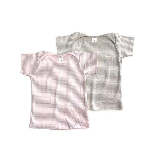 שתי חולצות שרוול קצר פסים ורוד ומוקה
