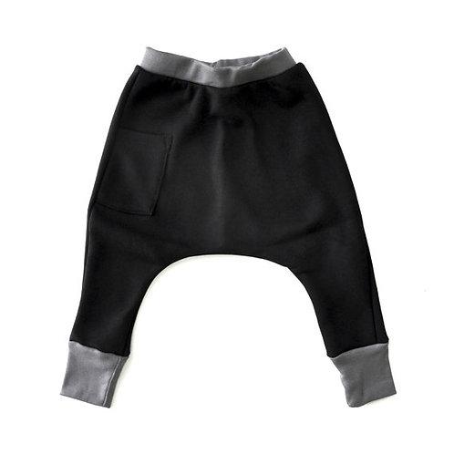 מכנס פוטר שחור עם אפור