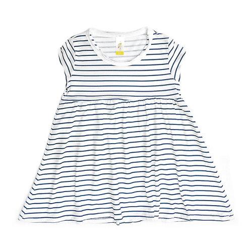 שמלת פסים נייבי שרוול קצר