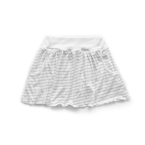 חצאית קצרה עם כיסים לבן עם פסים אפורים