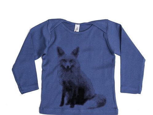 חולצה ארוכה- כחול עם שועל