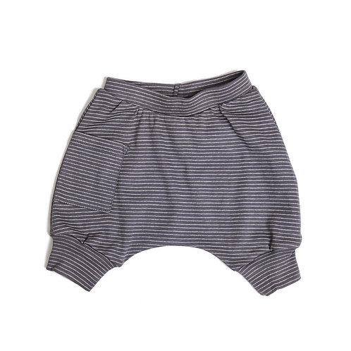 מכנס בלון קצר אפור פסים