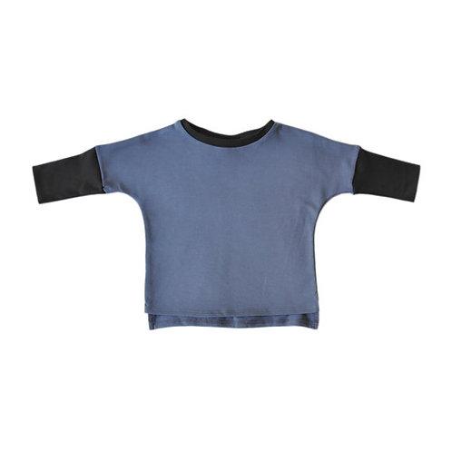 ארוך כחול עם אפור פחם
