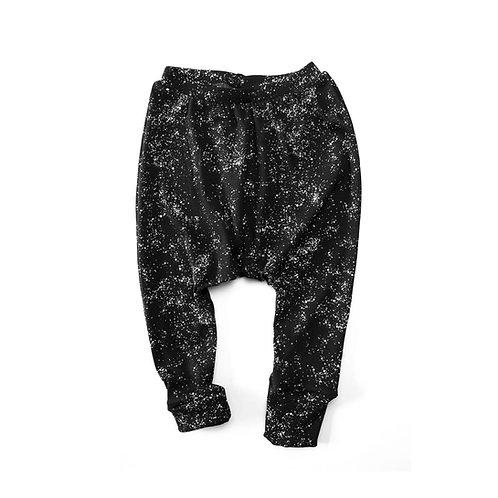 מכנסיים ארוכים כותנה אורגנית שחור גלקסיה תינוקות