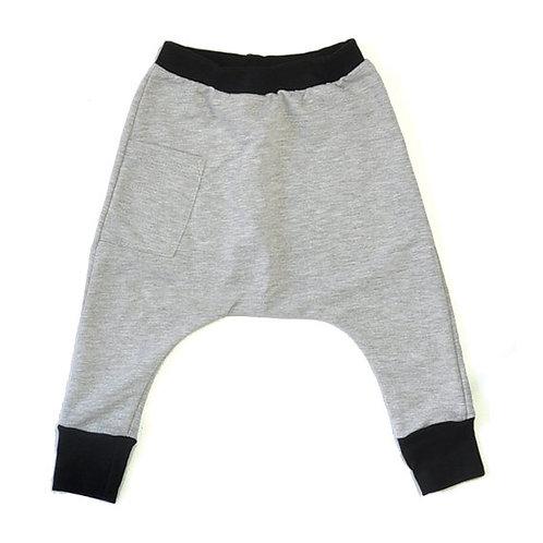 מכנס תינוק בגזרת גטקס אפור מלאנז' ושחור