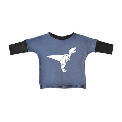 סוויטשירט ארוך כחול עם אפור פחם - דינוזאור