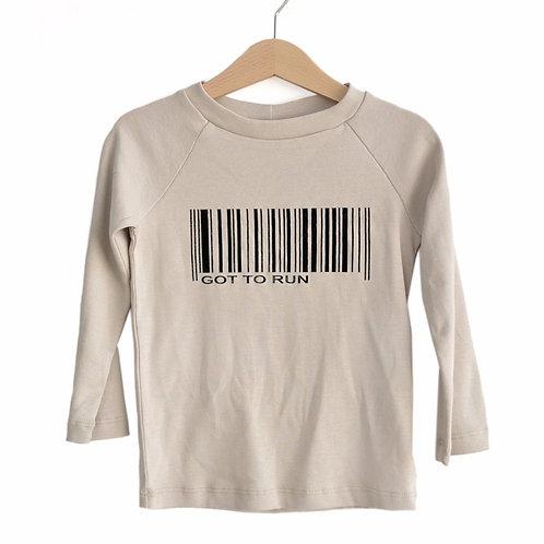 חולצת רגלאן ארוכה - מוקה עם הדפס ברקוד
