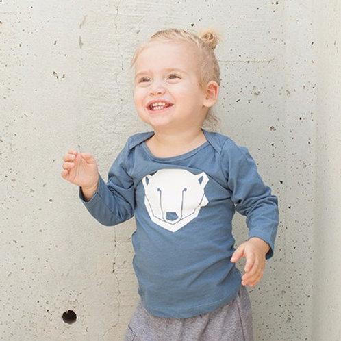 חולצה ארוכה - כחול דב קוטב